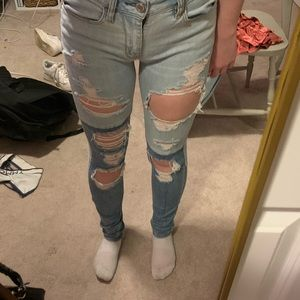 two tone color ripped jeans